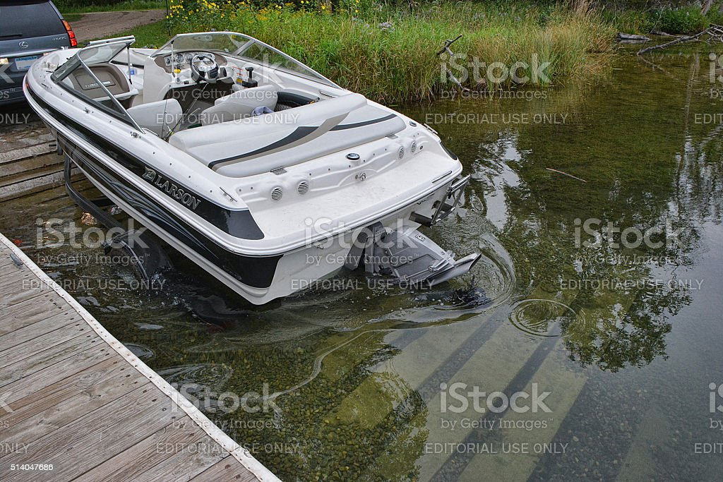 Boat and Trailer stock photo