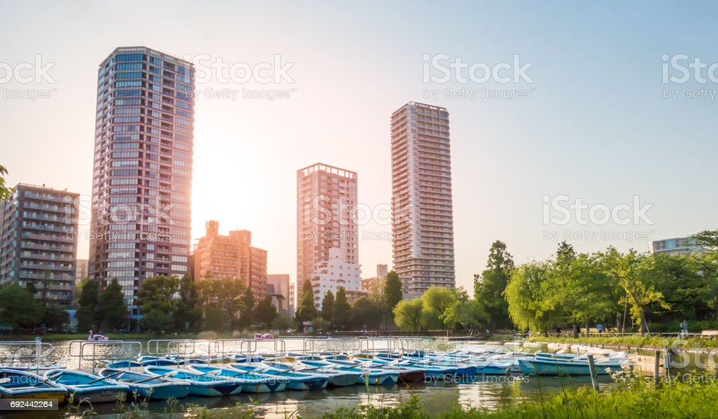Boat are docking in Ueno lake for rental. stock photo