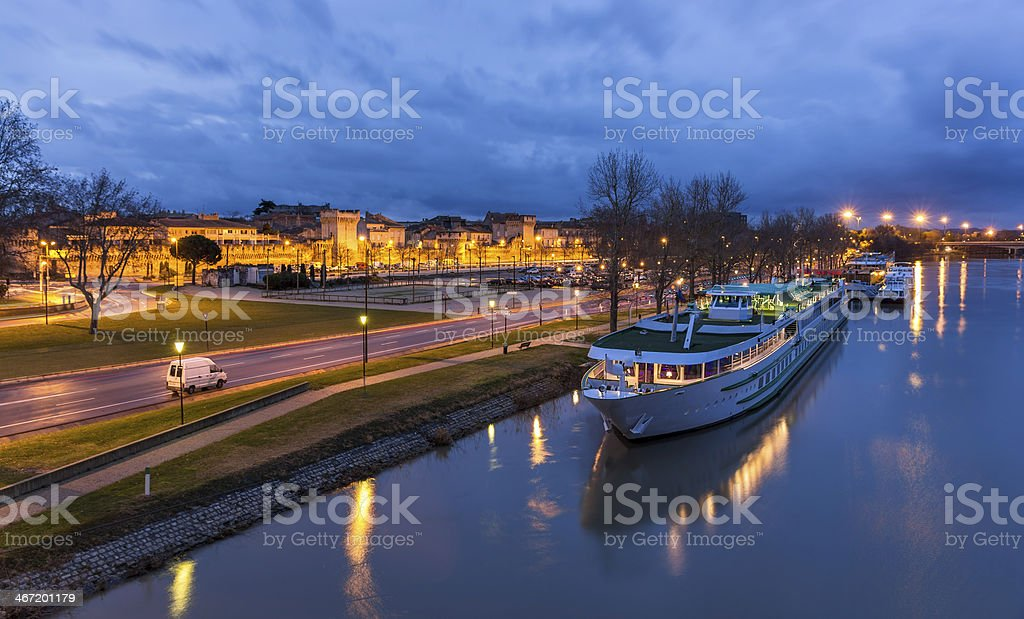Boat at Avignone moorage - France stock photo