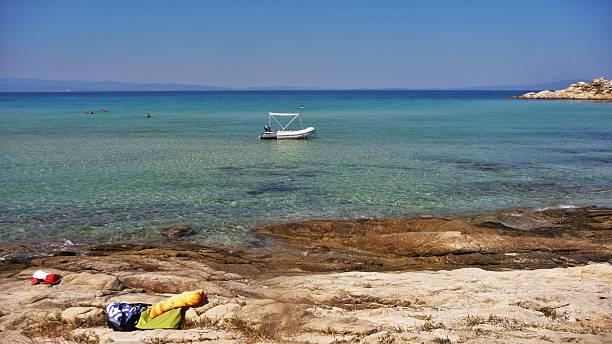 Boat at beach 01 stock photo