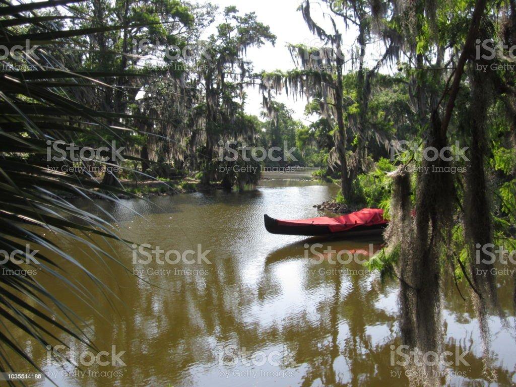 Boat at City Park stock photo