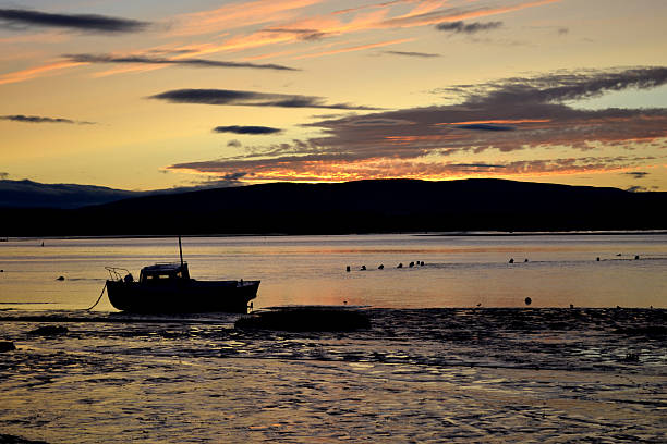Boat at dawn stock photo