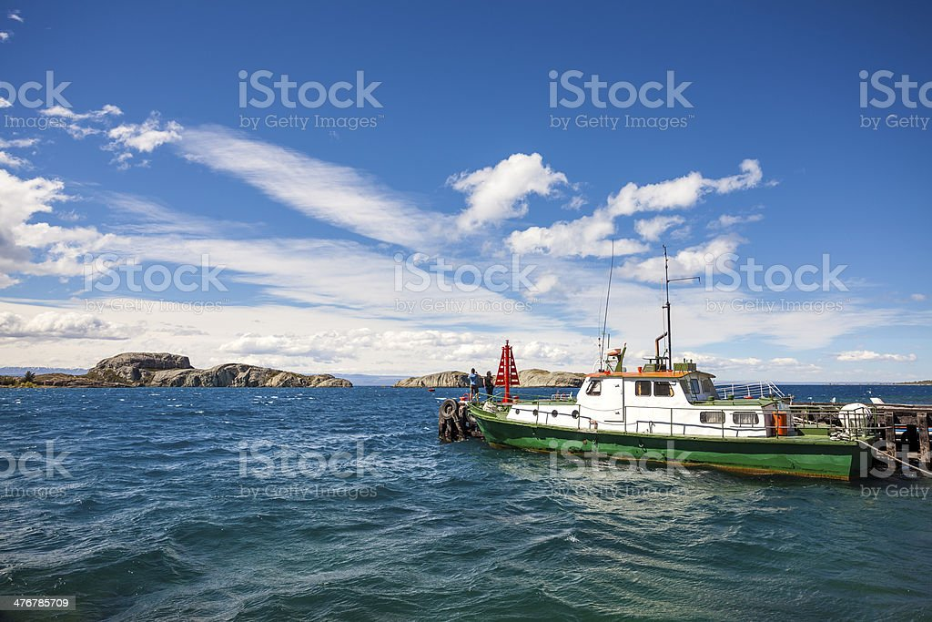 Boat at General Carrera Lake in Chile Chico. royalty-free stock photo