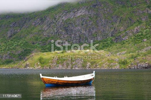 boat at idyllic lake in norway