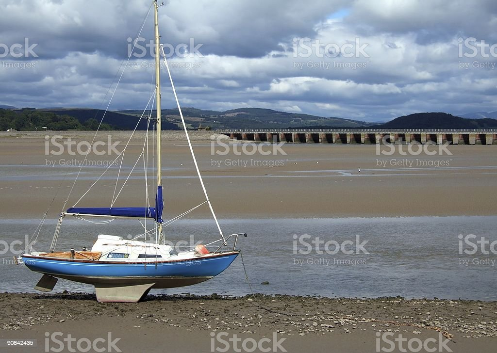 Boat at low tide, Arnside royalty-free stock photo