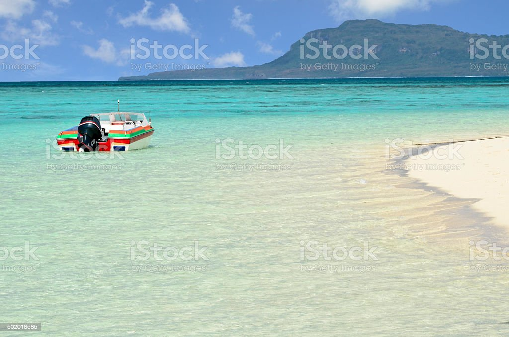 Boat at Managaha stock photo