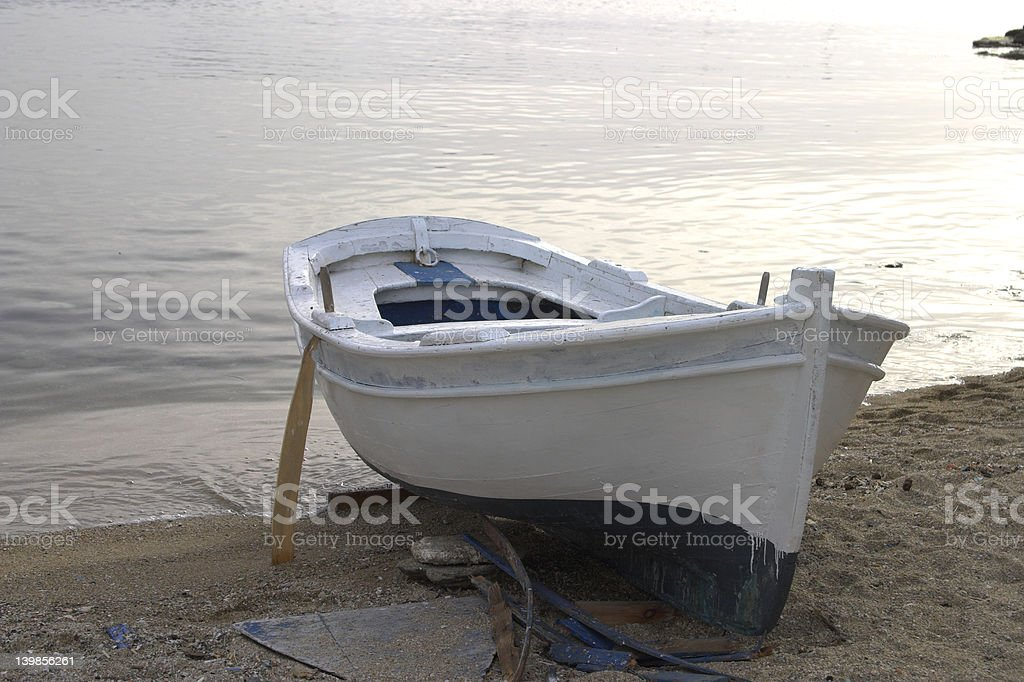 Boat at Mykonos Harbour, Greece royalty-free stock photo