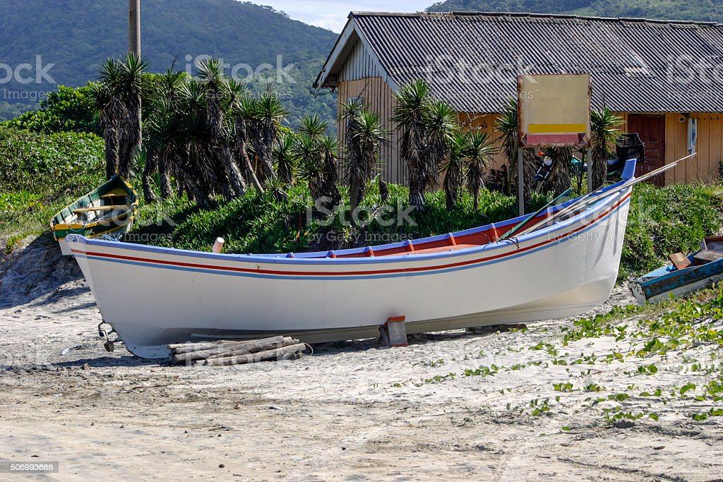 Boat at Pantano do Sul beach stock photo