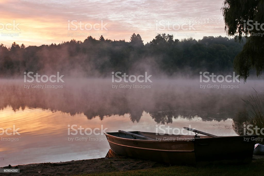 Boat at Sunrise royalty-free stock photo