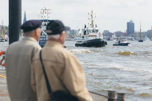 Boat at the harbor of Hamburg and Elbe river