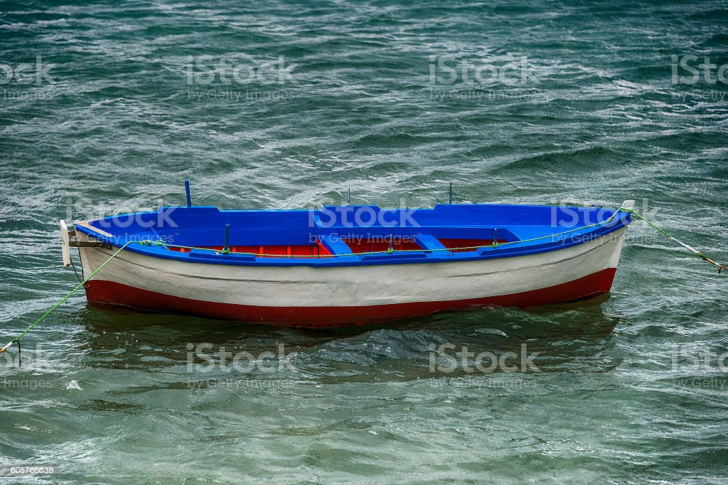 Boat at the pier, Mediterranean Sea, Salerno, Italy stock photo