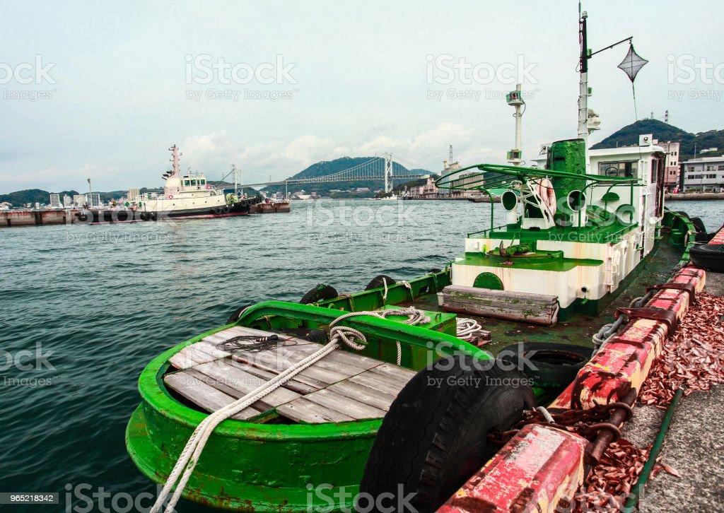 Boat at the pier Mojiko Retro japan zbiór zdjęć royalty-free