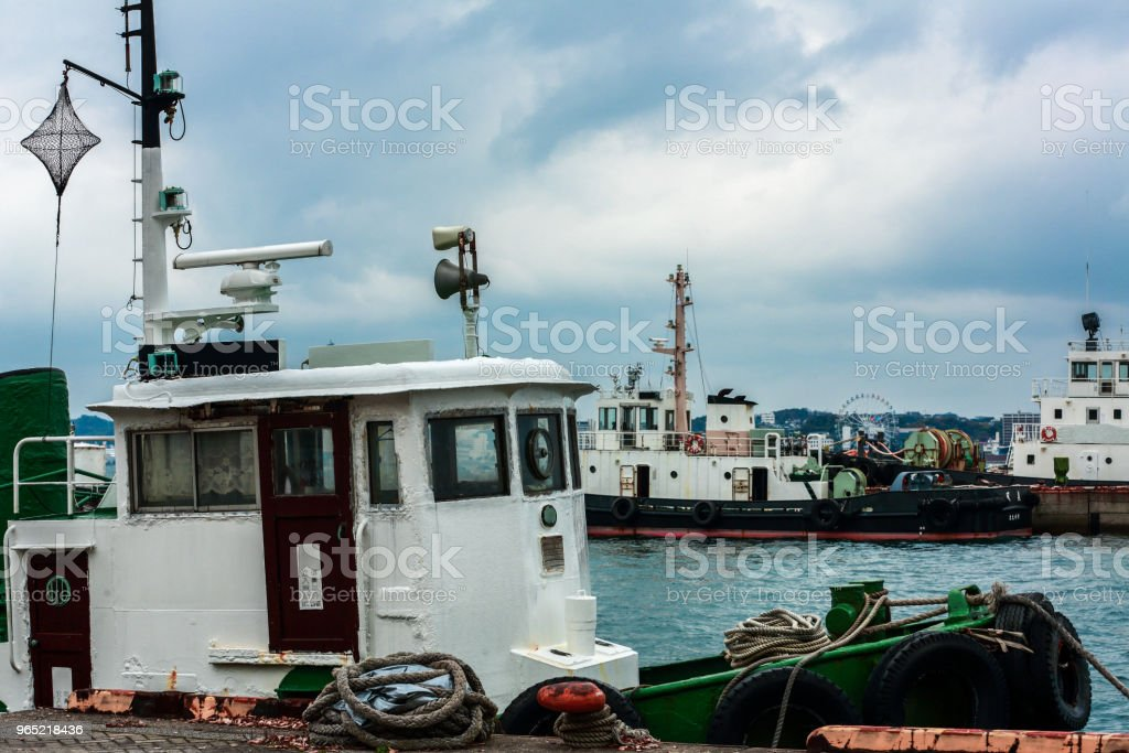 Boat at the pier Mojiko Retro japan royalty-free stock photo