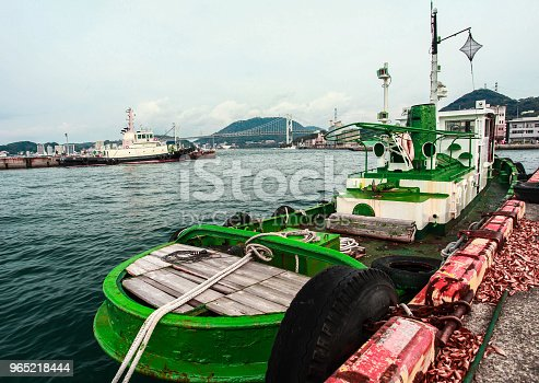 Boat At The Pier Mojiko Retro Japan Stock Photo & More Pictures of Aging Process