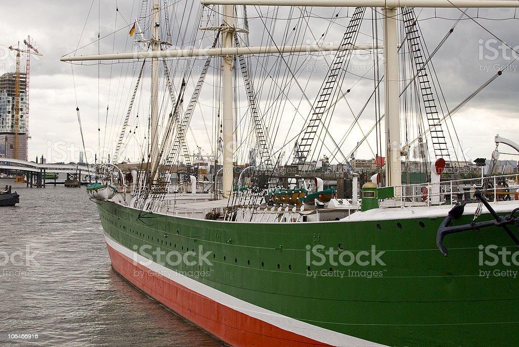 Boat at the port of hamburg - Rickmer Rickmers stock photo