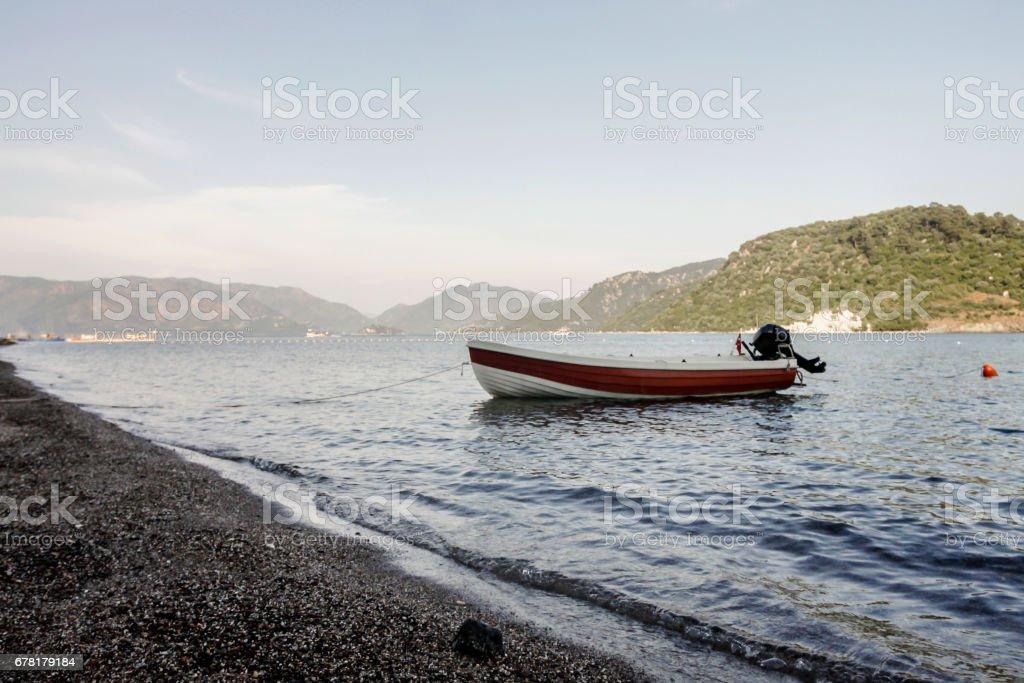 boat at the shore stock photo