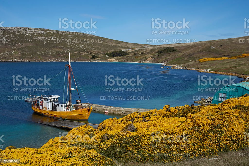 Boat at West Point Settlement in the Falkland Islands stock photo