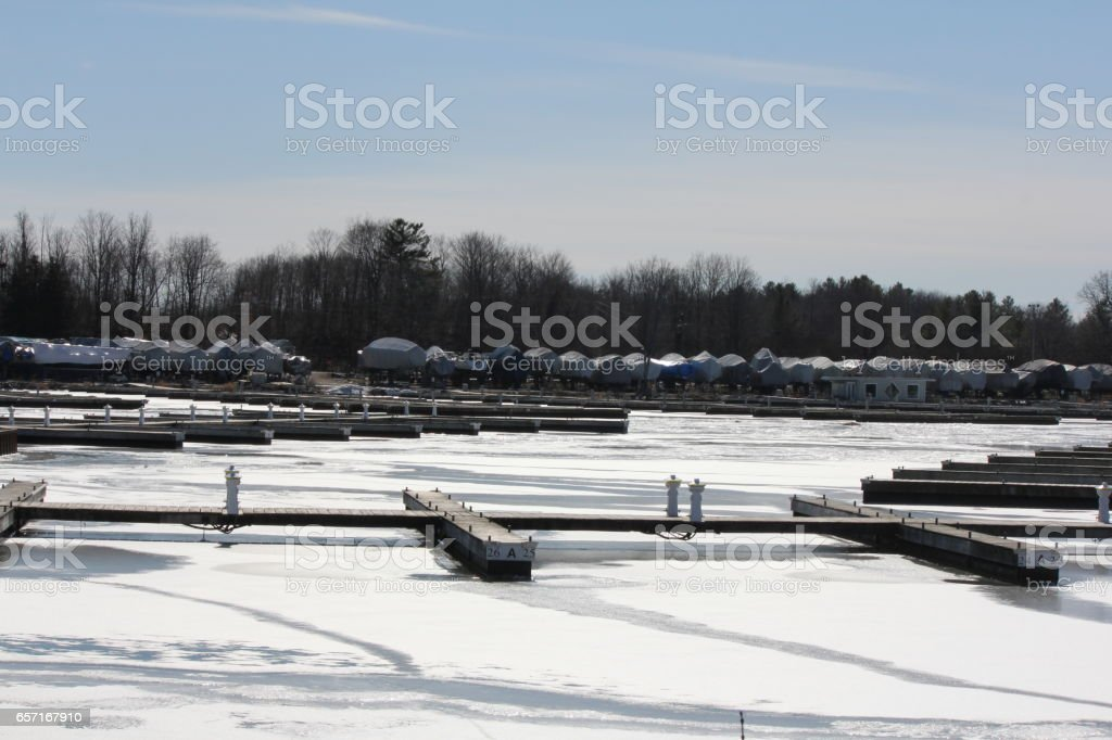 Boat Berth & Boats (Winter) stock photo