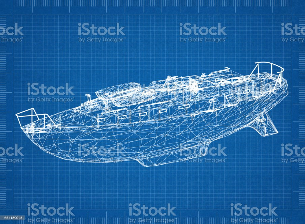 Boat blueprint – 3D perspective stock photo