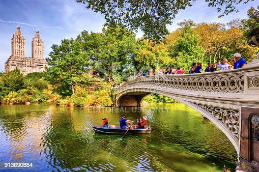 New York, United States - October 7, 2017: people in a boat in Bow Brige, Central Park, at autumn in Manhattan. New York City. USA