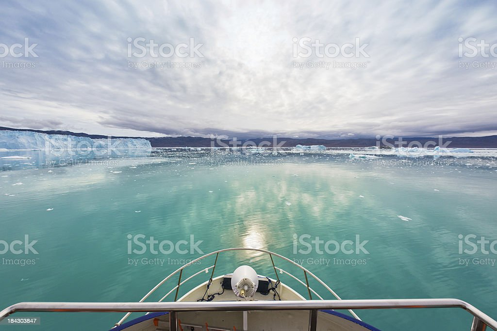 Boat Bow View Eqi Glacier Sermia Greenland stock photo
