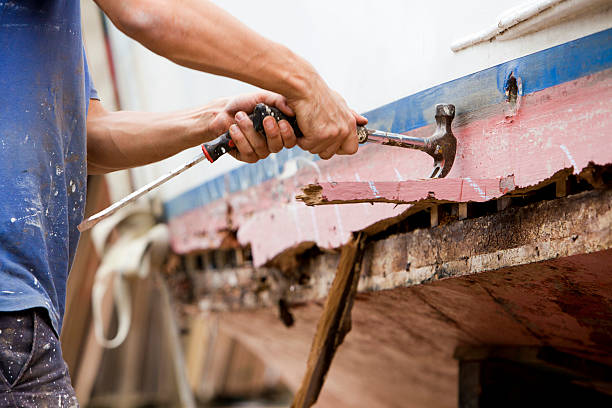 Boat building in the yard stock photo