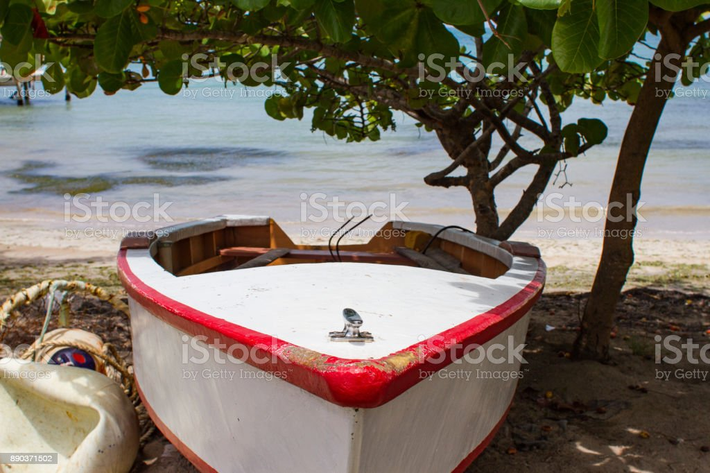 Boat Carribbean Beach stock photo