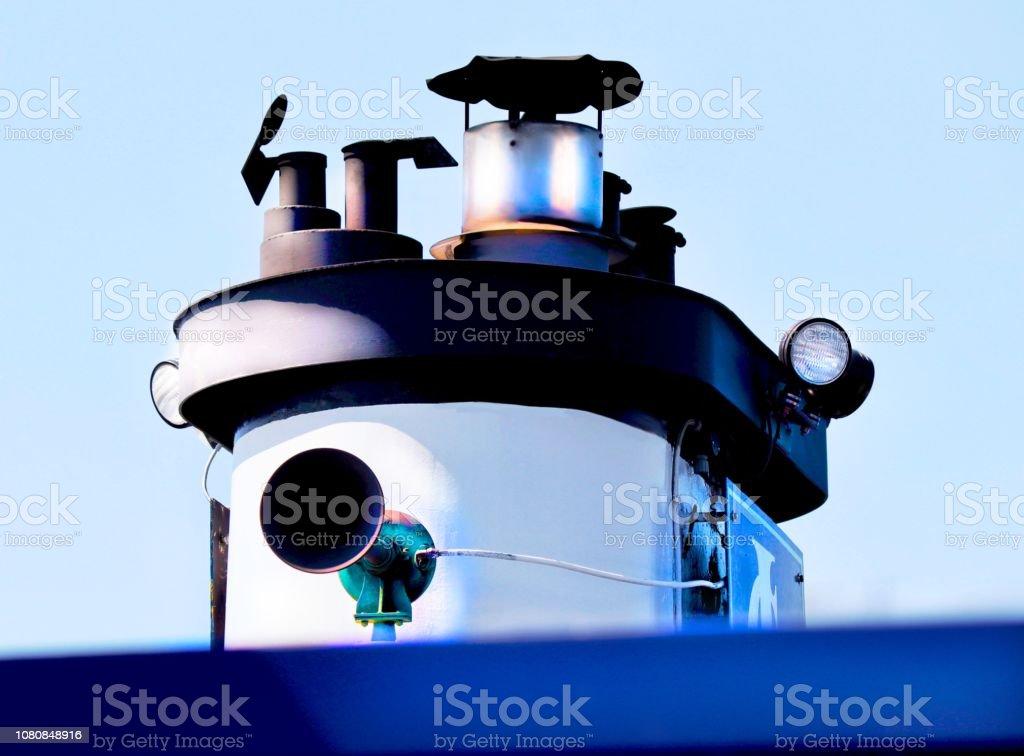 Boat chimney stock photo
