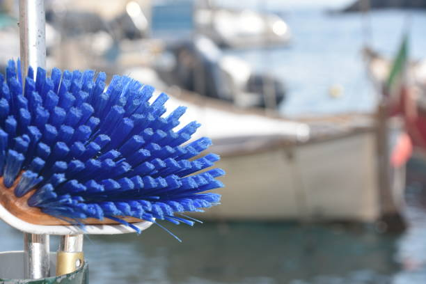 Boat cleaning brush stock photo