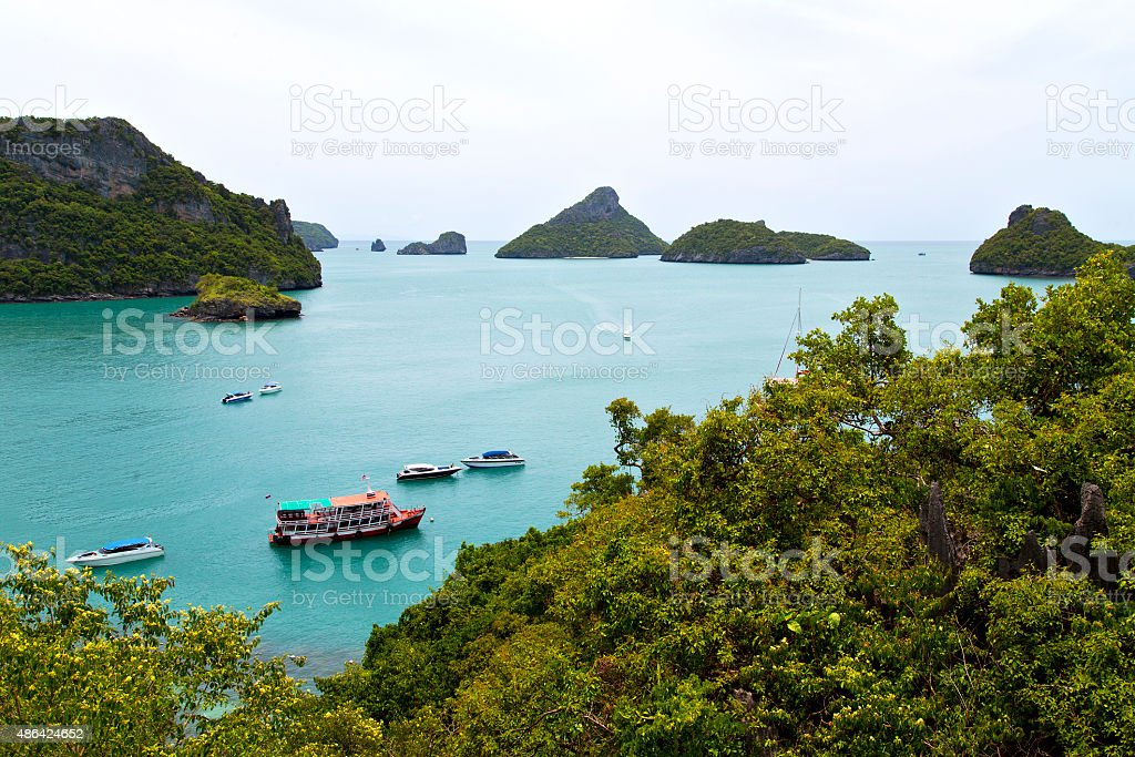 boat coastline of a  green lagoon and    bay stock photo