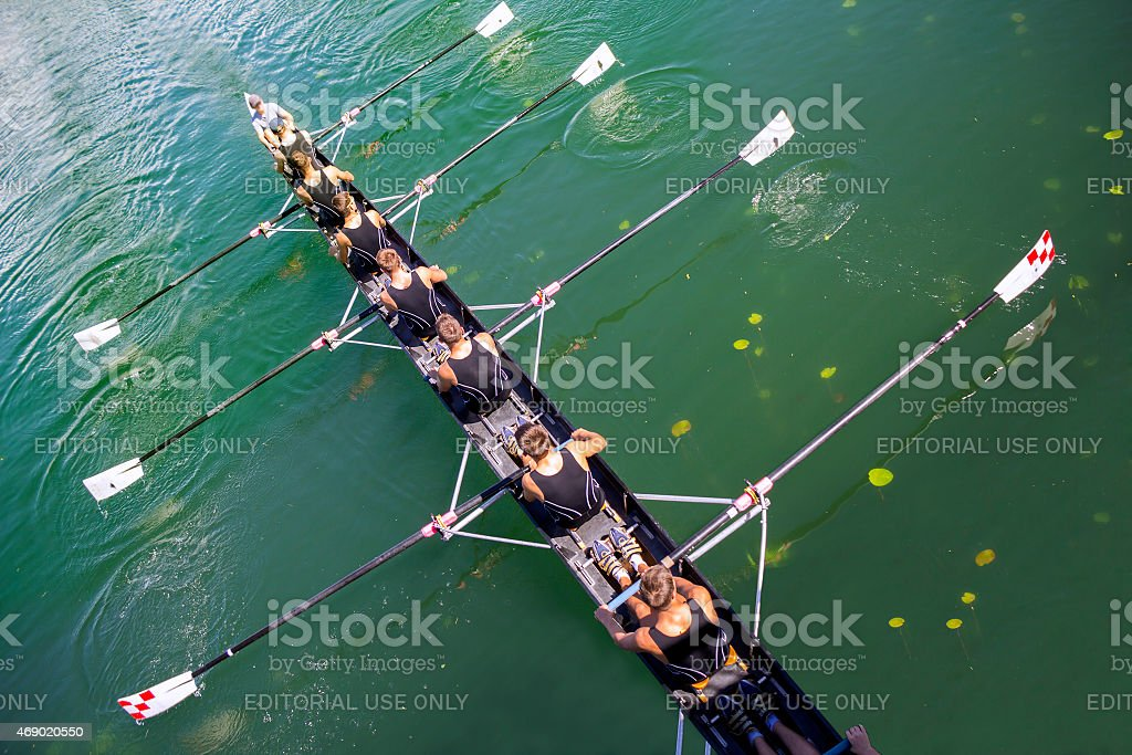 Boat coxed eight stock photo