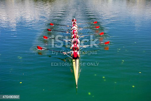 Zagreb, Croatia - September 21, 2014: Young athletes train rowing on the Lake Jarun