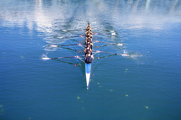boat coxed with eight rowers - sports team stock photos and pictures