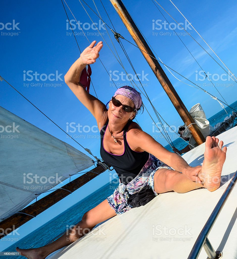 Boat Deck Stretching royalty-free stock photo