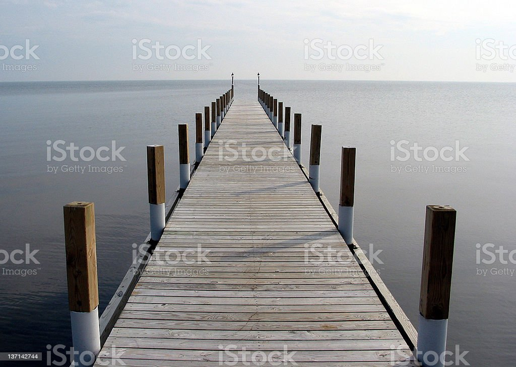Boat Dock, Calm Lake, Overcast Day royalty-free stock photo