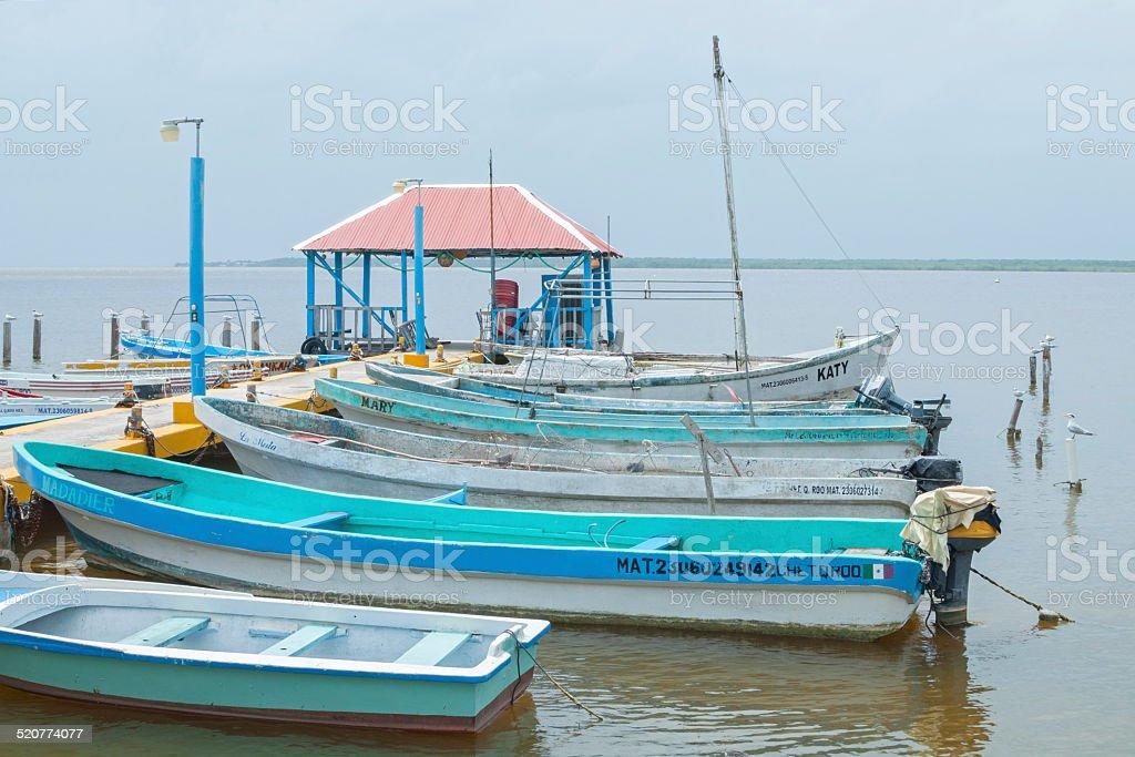 Boat dock in Chetumal stock photo