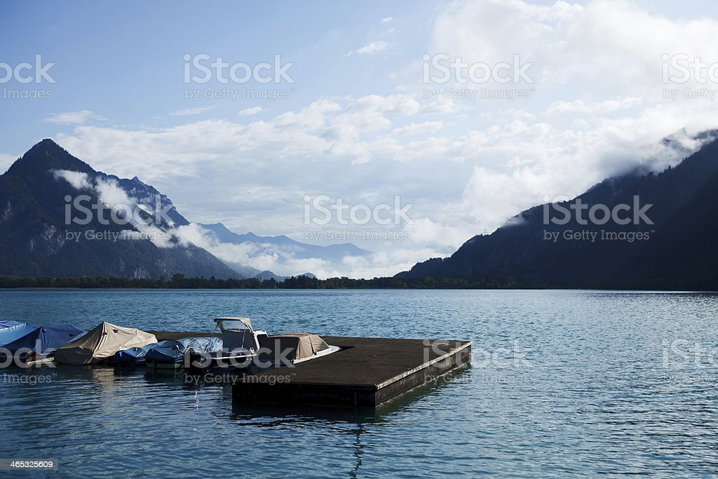 Boat Dock in Interlaken Harbor, Switzerland royalty-free stock photo