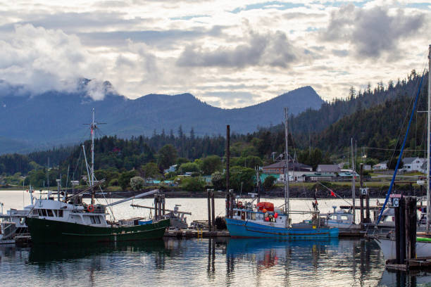 Boat Dock on Haida Gwaii stock photo