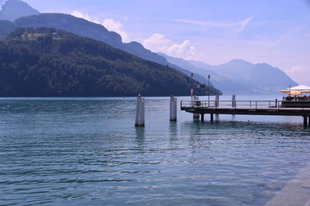Boat dock on Lake Uri, Switzerland stock photo