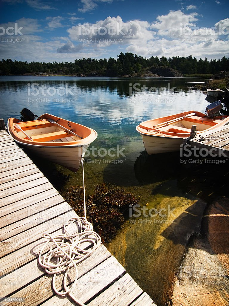 Boat Dock on Ocean royalty-free stock photo