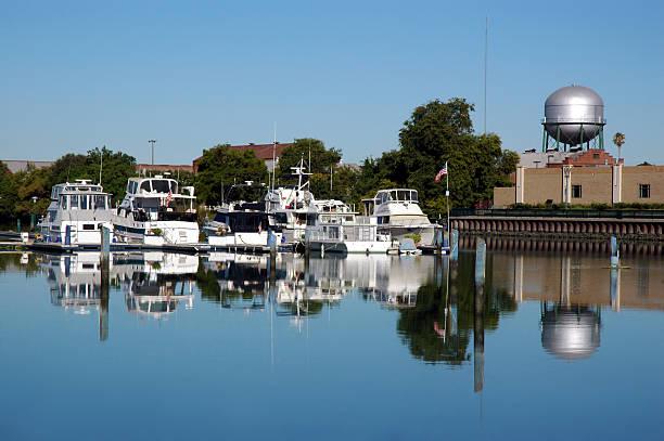 Boat Dock Reflection stock photo