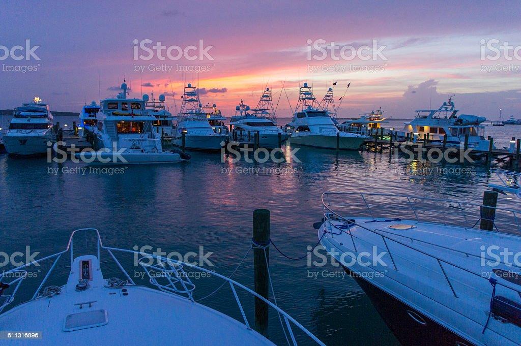 boat dock sunset stock photo