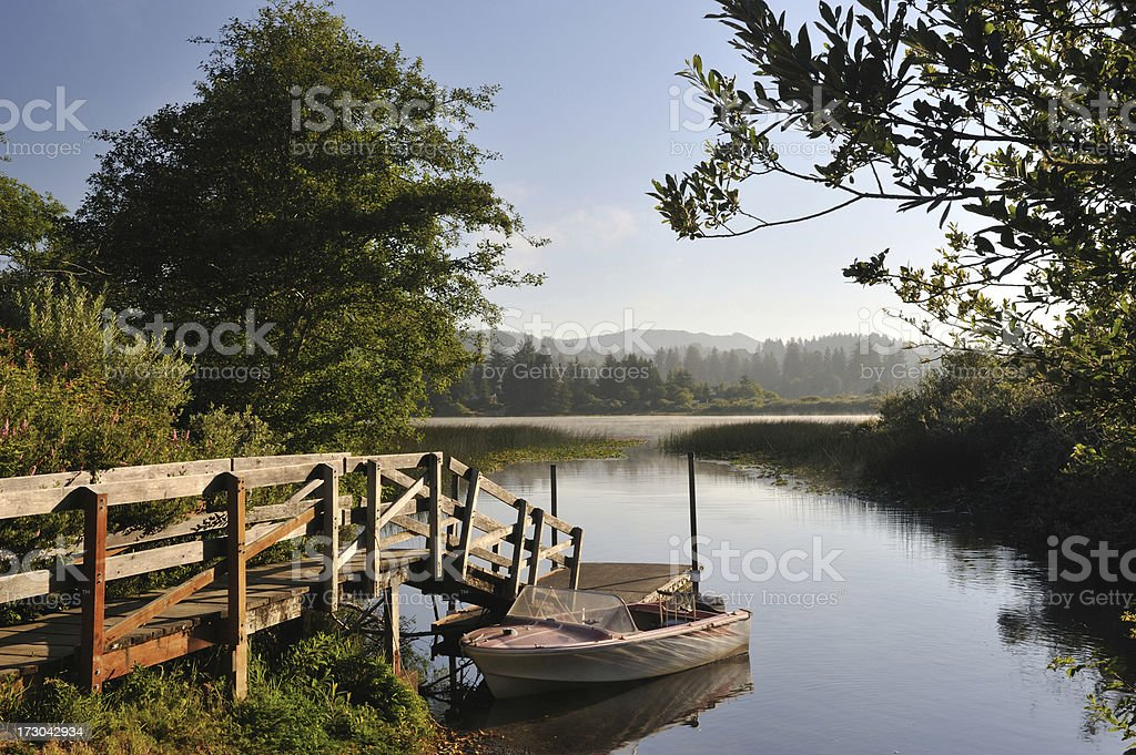 Boat Docked at Sutton Lake royalty-free stock photo