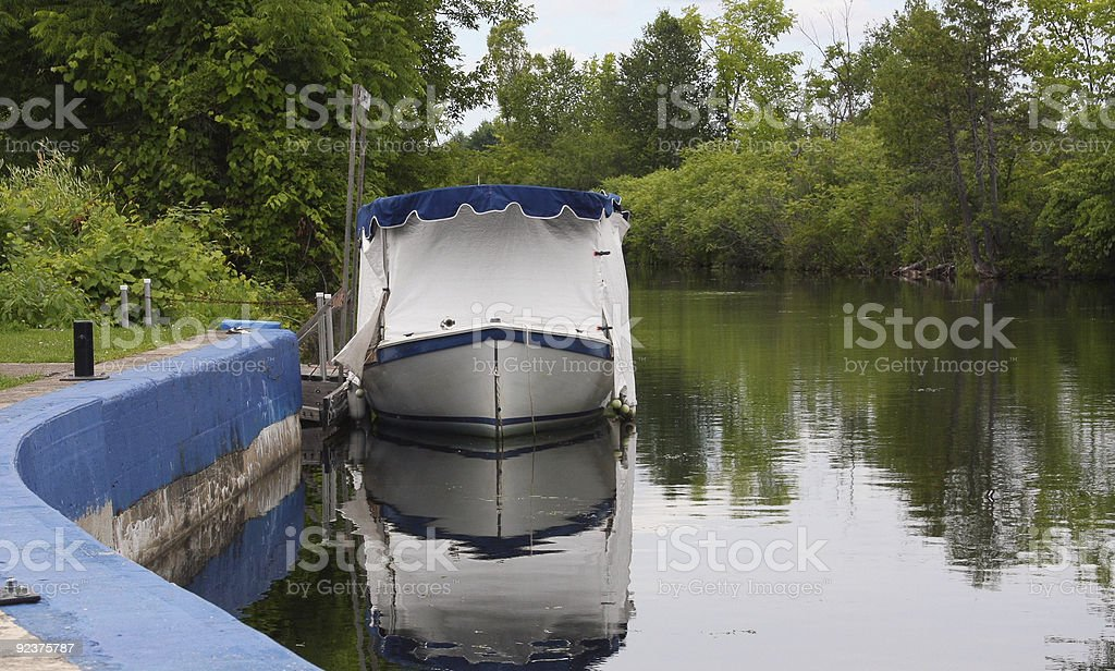 Boat docked on a canal. royalty-free stock photo