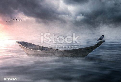 Boat drifting and lost in the ocean