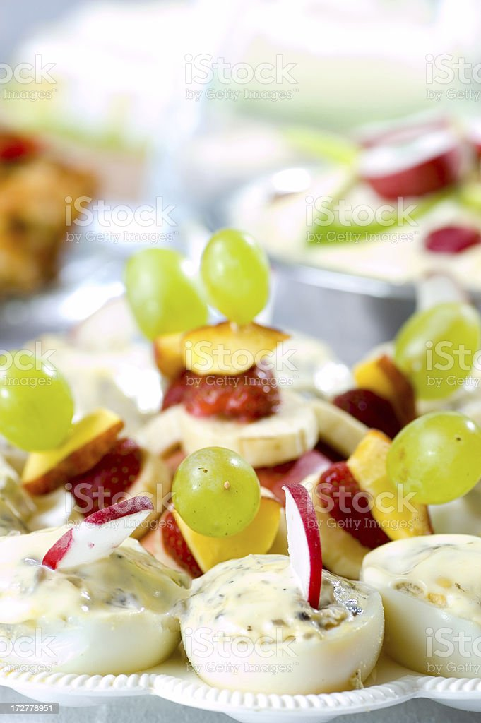 Boat egg with fruits royalty-free stock photo