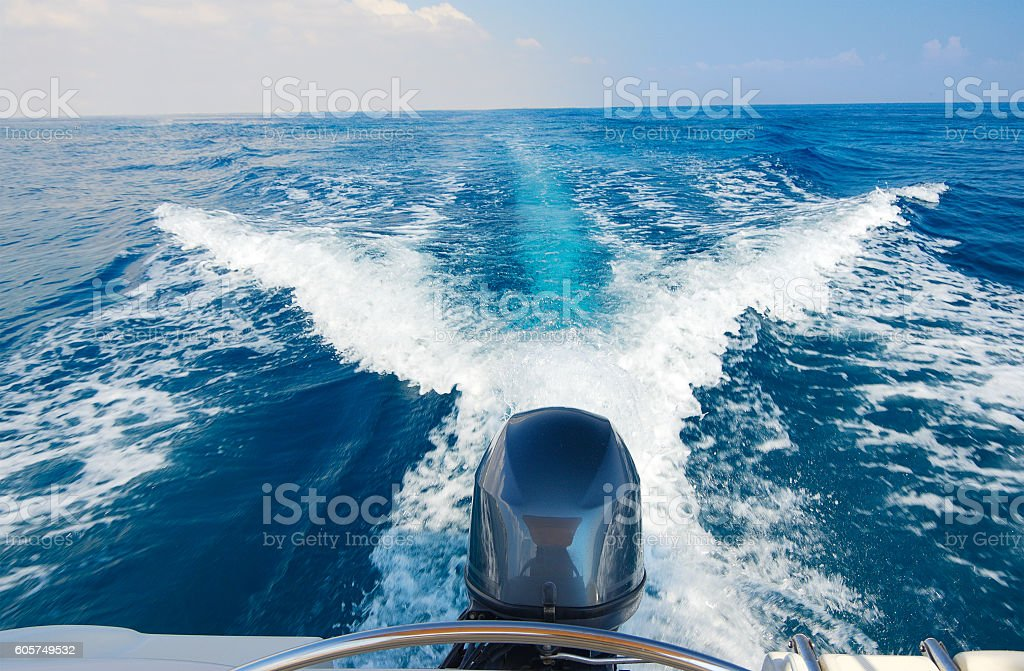 Boat engine stock photo