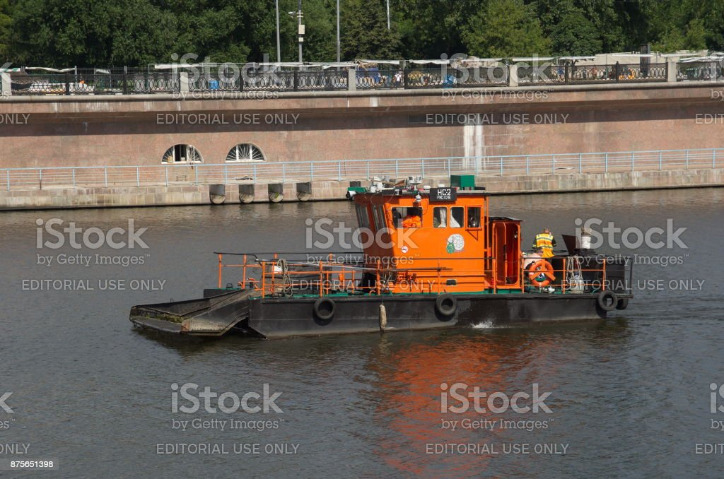 Boat for water purification, Moscow, Russia stock photo