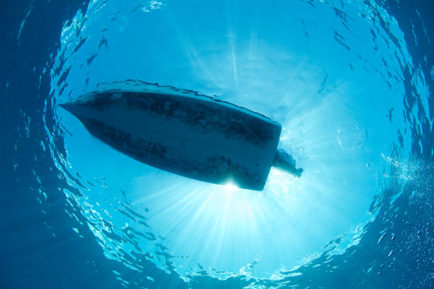 boat from beneath - hull stock pictures, royalty-free photos & images
