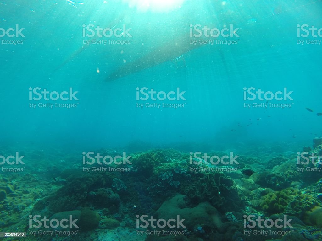 Boat from underwater view stock photo